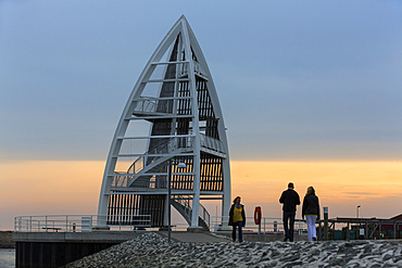 Observation Tower at Juist harbour, landmark, Juist Island, Nationalpark, North Sea, East Frisian Islands, East Frisia, Lower Saxony, Germany, Europe