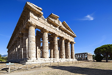 Poseidon Temple, Neptune Temple, Hera Temple in the background, historic town of Paestum in the Gulf of Salerno, Capaccio, Campania, Italy, Europe