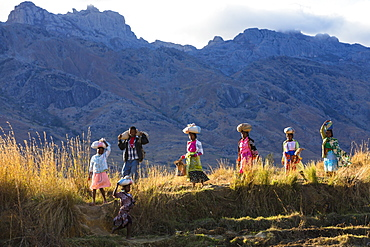 Malagasy people in the Tsaranoro Valley, highlands, South Madagascar, Africa