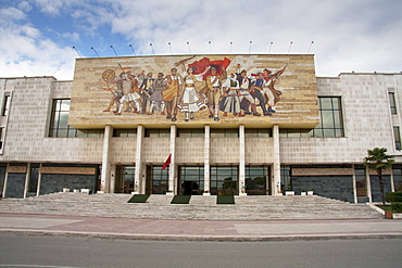 'The Albanians' mosaic on the façade of the National Historical Museum, Tirana, Albania