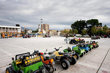 Toy car ride on Skanderbeg Square, Tirana, Albania