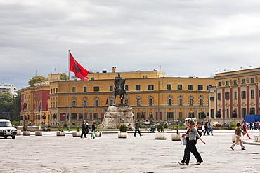Equestrian statue of Gjergj Kastrioti Skanderbeg on Skanderbeg Square, Tirana, Albania