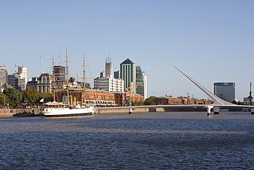 Frigate Presidente Sarmiento Boat-Museum and Santiago Calatrava's Puente de La Mujer (Women's Bridge) in Puerto Madero, Buenos Aires, Capital Federal, Argentina