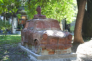 Modern Trabant sculpture in the gardens behind the National Art Gallery, Sofia, Bulgaria