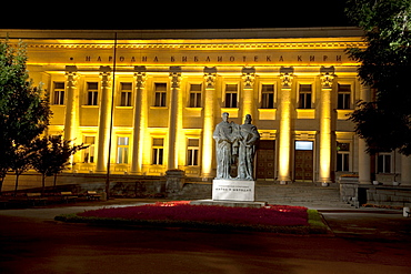 National Library at night, Sofia, Bulgaria