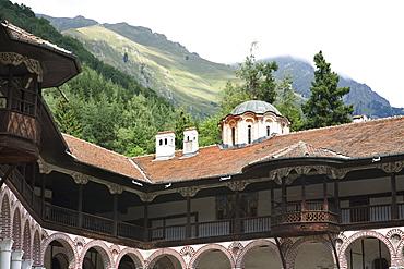 Interior courtyard, Rila Monastery, Blagoevgrad, Bulgaria
