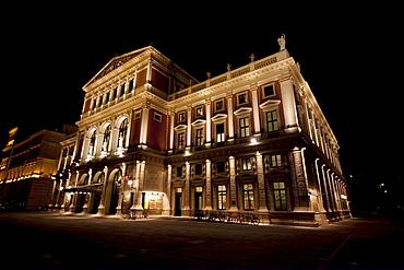 Musikverein concert hall at night, Vienna (Wien), Austria