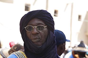 Man with turban at the Monday Market, Djenne, Mali