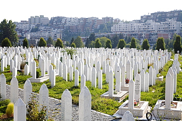 Kosevo Cemetery was built during the war on the site of former football practice pitches of Sarajevo, Bosnia & Herzegovina. The citizens of Sarajevo needed a place to bury the dead, hence this cemetery came to being; practically all the death years are similar.