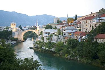 Old Bridge (Stari Most) over the Neretva River at dusk, Mostar, Herzegovina-Neretva, Bosnia & Herzegovina