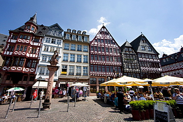 Reconstructions of 15th and 16th century houses on the Römerberg, Frankfurt am Main, Germany
