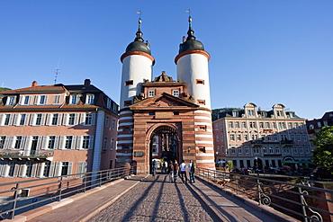 Gate of the Carl-Theodor-Brücke (Old Bridge) over the Neckar River, Heidelberg, Baden-Württemberg, Germany
