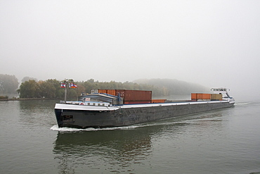 Riverboat on the Main River in the fog, Mainz, Rhineland-Palatinate, Germany