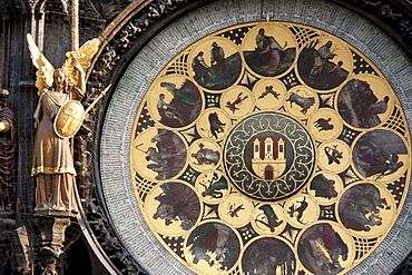 Angel figure by the Calendar, added in 1870 below the Astronomical Clock of the Old Town Hall, Prague, Czech Republic