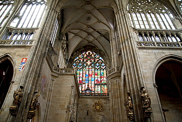 Southern stained glass window with a scene of the Last Judgement by Max Svabinsky in St. Vitus Cathedral, Prague, Czech Republic