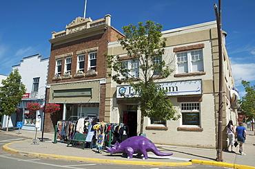 Street scene with dinosaur, Drumheller, Alberta, Canada