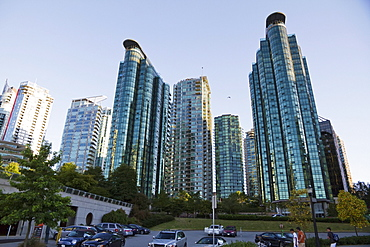 Residential skyscrapers in Coal Harbour, Vancouver, British Columbia, Canada