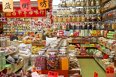Chinese traditional medicine and herb store in Chinatown, Vancouver, British Columbia, Canada
