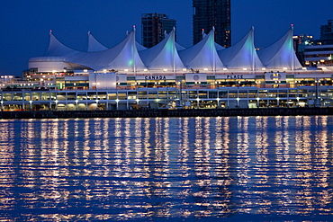 Canada Place reflected in Coal Harbour at night, Vancouver, British Columbia, Canada