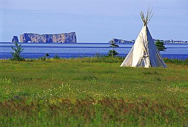 Tepee and Perce Rock, Gaspesie Region, Saint-Georges-de-Malbaie, Quebec