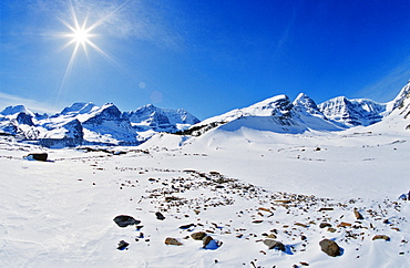 Columbia Icefield in Winter, Jasper National Park, Alberta.