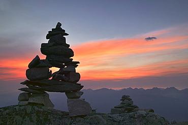 Innukshuk on the top of Whistler Mountain, Jasper National Park, Alberta.