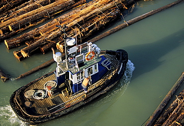 Tugboat and Log boom, North Arm Fraser River, Vancouver British Columbia.