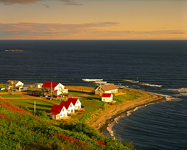 Cottages and St. Lawrence River at Sunrise, Petite-Vallee, Gaspesie region, Quebec