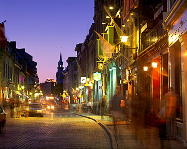 Saint-Paul Street in Old Montreal at Twilight, Montreal, Quebec