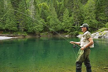 Fisherman on Petite Cascapedia River, Gaspesie Region, Quebec