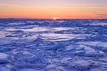 Ice Floe at Sunset, Gaspesie Region, Bonaventure, Quebec