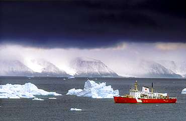 Canadian Coastguard Icebreaker visiting the Coast of Northwest Greenland, between Ellesmere Island and Greenland
