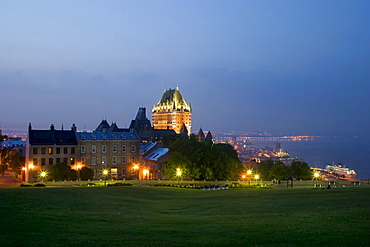 The Chateau Frontenac Hotel seen from behind Old Houses, Quebec City, Quebec
