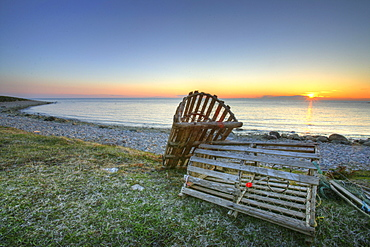 Lobster Traps and Sunset, Green Point Campground, Gros Morne National Park, Newfoundland