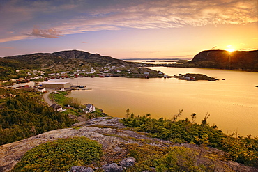 View of Village at Sunset, Salvage, Newfoundland