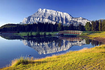 Mount Rundle reflected in Cascade Ponds, Banff National Park, Alberta, Canada