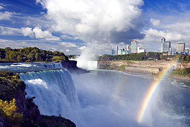 The American Falls, Niagara Falls, New York USA with Horseshoe Falls and Niagara Falls, Ontario, Canada in background