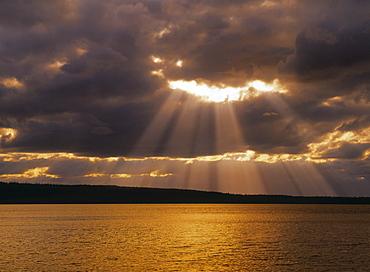 Sun through Clouds over Waskesiu Lake, Prince Albert National Park, Saskatchewan, Canada