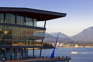 "New Convention Centre and ""Blue Drop"" sculpture on pier, Coal Harbour, downtown Vancouver, British Columbia"