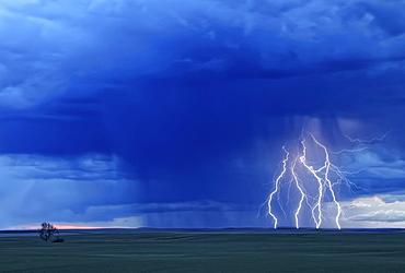 Multiple lightning strikes during a storm near Val Marie, Saskatchewan