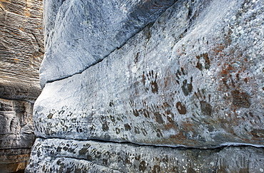 Handprints on frosted Canyon wall, Maligne Canyon, Jasper National Park, Alberta