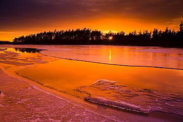 Sunset and Spring Thaw, Rocky Lake, Nova Scotia
