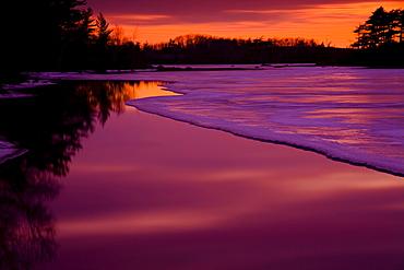 Spring Thaw and Twilight Colours, Rocky Lake, Waverley, Nova Scotia