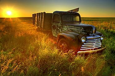Old Abandoned Farm Truck Illuminated at Sunrise, Southwestern Saskatchewan