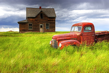 Abandoned Homestead House and Red Pick-Up Truck, Southwestern Saskatchewan