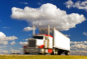 Artist's Choice: A semi truck on the Trans-Canada Highway, near Winnipeg, Manitoba