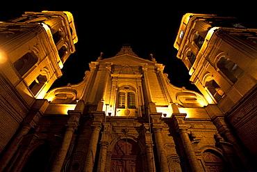 Basilica Menor de San Lorenzo at night, Santa Cruz de la Sierra, Bolivia