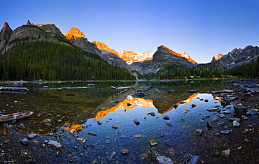 Lake O'Hara and Mountains at sunset, Yoho National Park, British Columbia