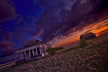 Abandoned home in the prairies, near Hanley, Saskatchewan