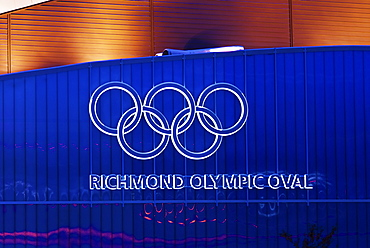 Olympic symbol on the wall of the Richmond Olympic Oval, speed skating venue for the 2010 Olympic and Paralympic Winter Games, Richmond, British Columbia